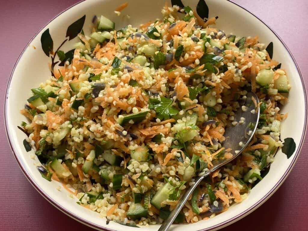 Bulgur Wheat Salad in a bowl