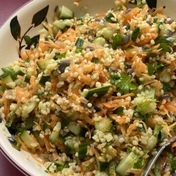 Bulgar Salad in a bowl.