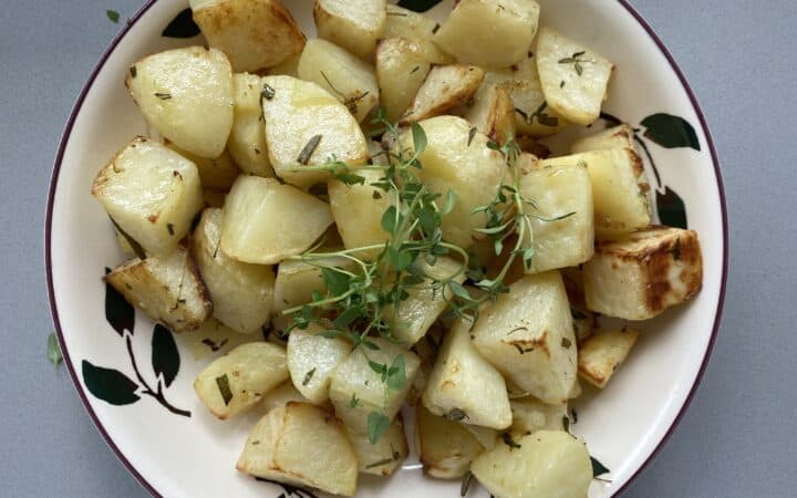Herb Baked potatoes in a dish