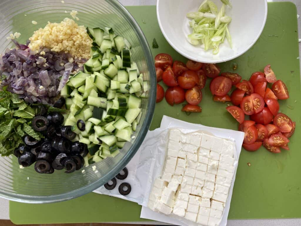 Overhead shot of Bulgur Salad ready to mix together