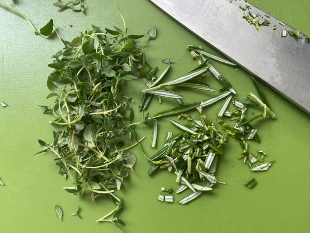 Overhead shot of chopped herbs