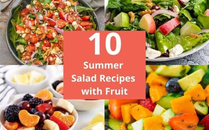 Collage of summer salad recipes with fruit.
